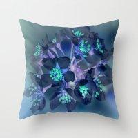 FLOWERS -Blue blossoms Throw Pillow