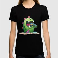 Dinosaur Womens Fitted Tee Black SMALL