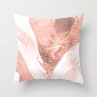 Pink & Grey Marble Throw Pillow