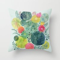 Succulent Circles Throw Pillow