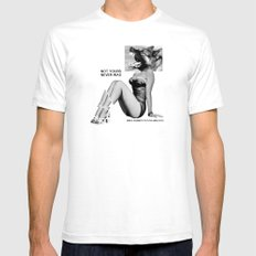 NOT YOURS NEVER WAS Mens Fitted Tee SMALL White