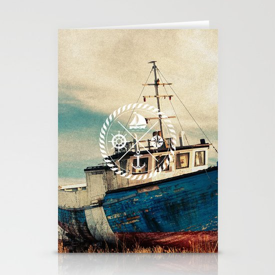 Blue Brown Vintage Nautical Anchor Sailing Boat Stationery Card