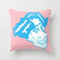 Scruff in Blue Throw Pillow