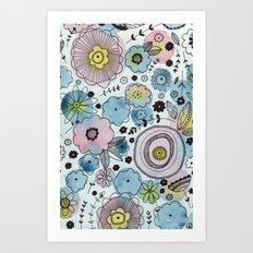 Blue and purple flowers Art Print