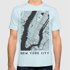 New York City map Mens Fitted Tee Light Blue SMALL