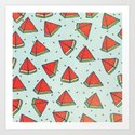Watermelon doodles  Art Print