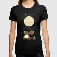 Moon Gazing Womens Fitted Tee Tri-Black SMALL