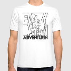 Every Day I'm Adventurin' SMALL White Mens Fitted Tee