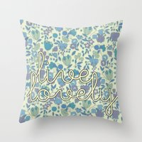 Live Lovely, Print Throw Pillow