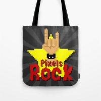 Pixels Rock Tote Bag