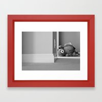 Teddy Bear Tipped Over Framed Art Print