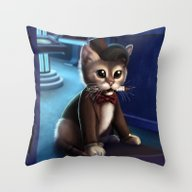 Throw Pillow featuring Doctor Who Cat by Tony Calabro Illustr…