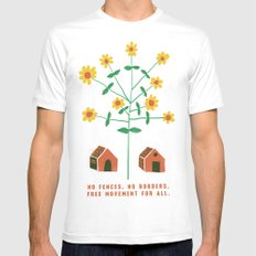 No Fences. No Borders. Free Movement For All.  Mens Fitted Tee White SMALL