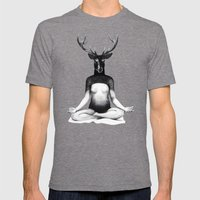 Deer Yoga Mens Fitted Tee Tri-Grey SMALL