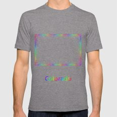 Rainbow Colorado map Mens Fitted Tee Tri-Grey SMALL