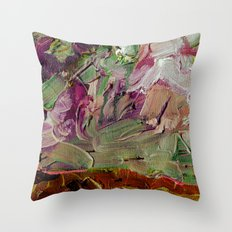 Abstract Purple Green Sky Throw Pillow