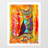 CAT OR TWO  Art Print