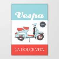 La Dolce Vita - 2 - Vespa poster Canvas Print