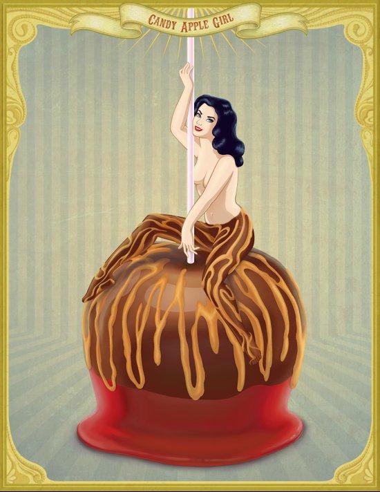 Candy Apple Girl Canvas Print