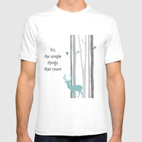 Deer and Trees Mens Fitted Tee White SMALL