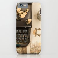Little roses over an old typewriter and tea (Retro and Vintage Still Life Photography) iPhone 6 Slim Case