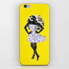Paris Girl in Summer Plum Flower Pattern  iPhone & iPod Skin
