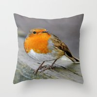 Cheeky Robin  Throw Pillow