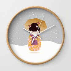 SNOW-kokeshi Wall Clock