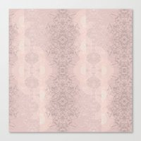Floral Lace // Pink Semi-Circles Canvas Print