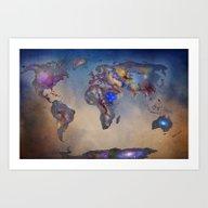 Stars World Map. Blue Art Print