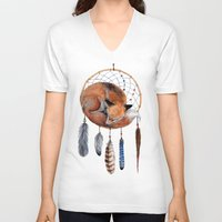 V-neck T-shirt featuring Fox Dreamcatcher by Goosi