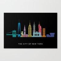 New York Skyline Black Canvas Print