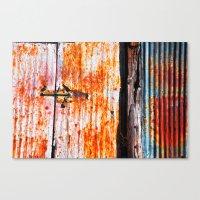 Abstract rusty garage door detail Canvas Print