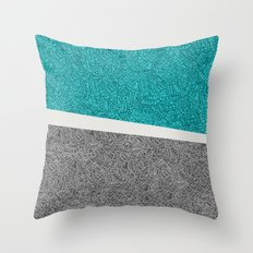 Pen & Ink: Turquoise & B… Throw Pillow