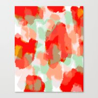 Samantha - Red, orange and mint abstract art Canvas Print