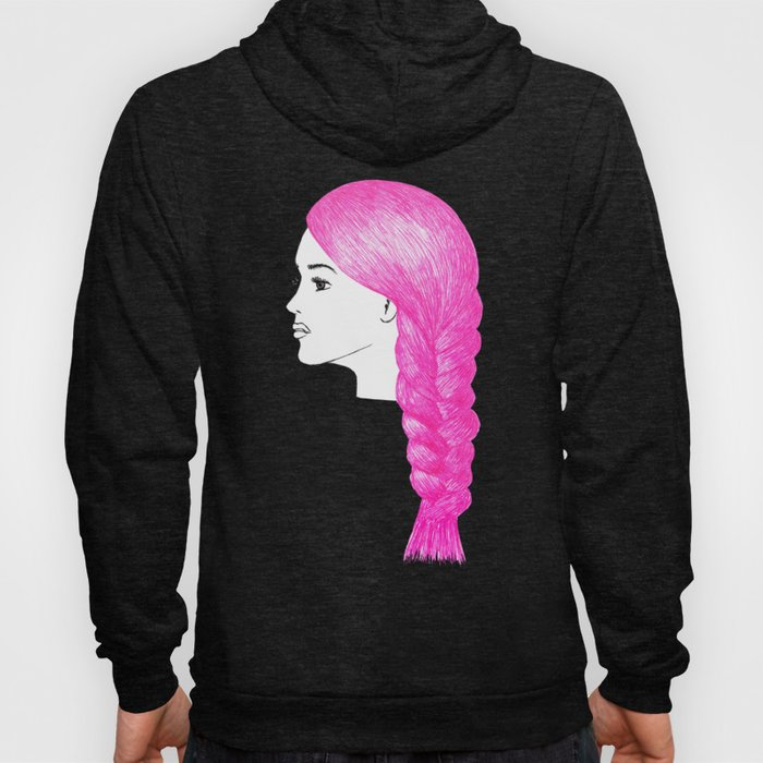 pink hair braid fashion illustration hoody hoodie