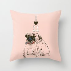 The Love of Pug Throw Pillow