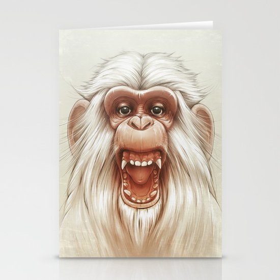 The White Angry Monkey Stationery Card
