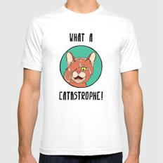 Catastrophe Cat Mens Fitted Tee SMALL White
