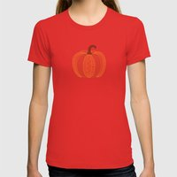 Patterned Pumpkin Womens Fitted Tee Red SMALL