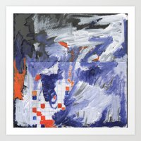 Abstract On Graph Paper Art Print