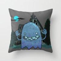Pixel Ghost Throw Pillow