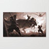 T. rex vs Samurai Canvas Print
