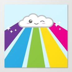 Cute Kawaii Cloud And Ra… Canvas Print