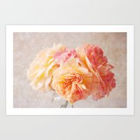 Textured Pastel Rose Art Print