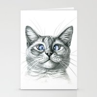 Cross Eyed cat G122 Stationery Cards