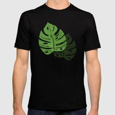 Linocut Monstera Leaf Pattern Mens Fitted Tee SMALL Black