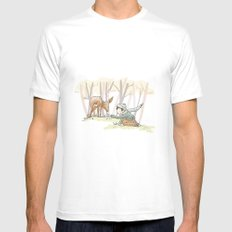 An Autumn Fall Scene - A Fawn and a Young Boy White Mens Fitted Tee SMALL