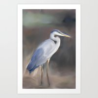 Blue Heron Paining  Art Print