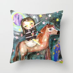 Riding a horse Throw Pillow